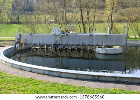 Clarifier (sedimentation tank) in water treatment plant Images and