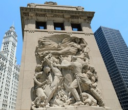 Bridge house monument in Chicago