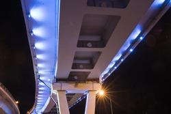 Bridge illuminated at night
