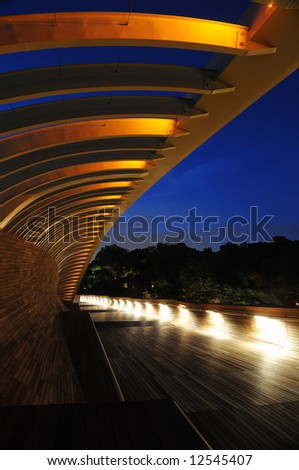 bridge illuminated at night by ambient lighting