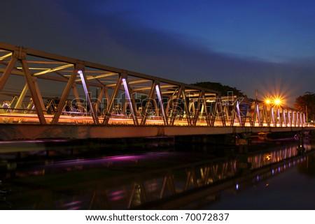Bridge in blue hour after sunset at Cisadane river, Tangerang, Indonesia