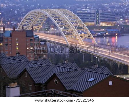 Bridge in Cincinnati on Ohio River - seen early morning