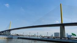 bridge in clean sky blue