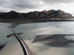 Bridge in Iceland, drone photo