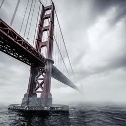 Bridge in mist. Bridge in a fog.