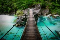 Bridge in Soca river, Slovenia, Julian Alps