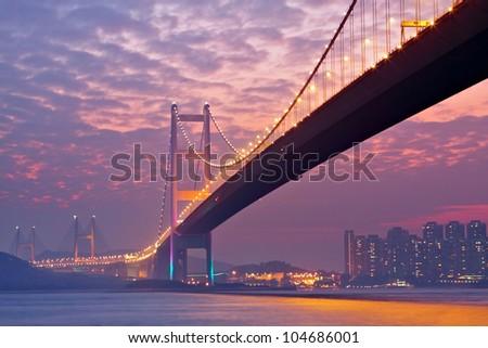 bridge in sunset , under view Stok fotoğraf ©