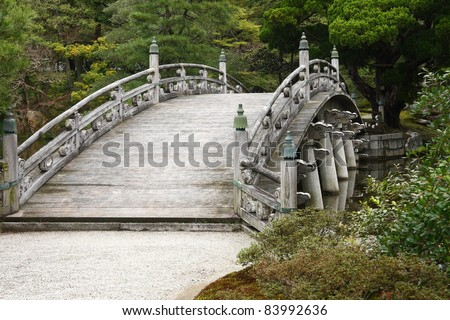 Bridge in the garden of the imperial palace in Kyoto, Japan