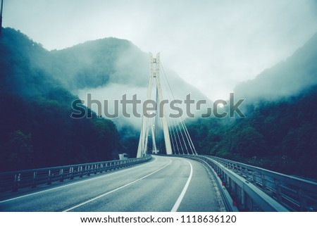 Bridge in the mountains with interesting supports. Engineering solution #1118636120