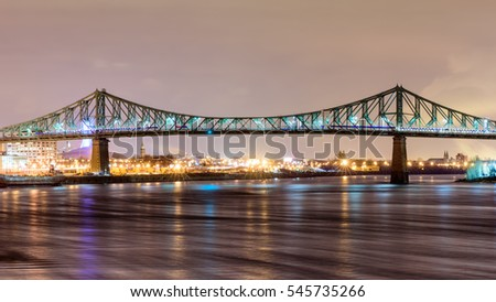 Bridge Jacques-Cartier (Montreal, Quebec) at Night.