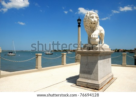Bridge of Lions named for two lion statues at the west end of the bridge, historic st. augustine florida usa
