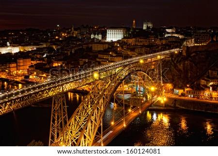 Bridge of Luis I at night over Douro river and Porto, Portugal