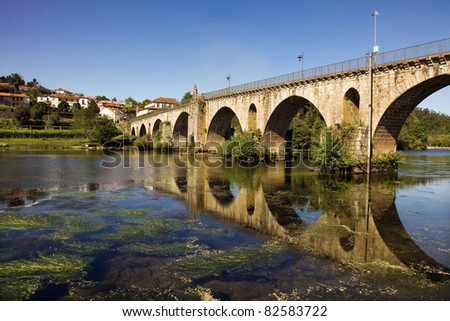Bridge of Ponte da Barca, ancient portuguese village, on Minho river, north of Portugal - stock photo