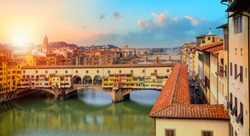 Bridge of  Ponte Vecchio on the river Arno - Florence, Italy