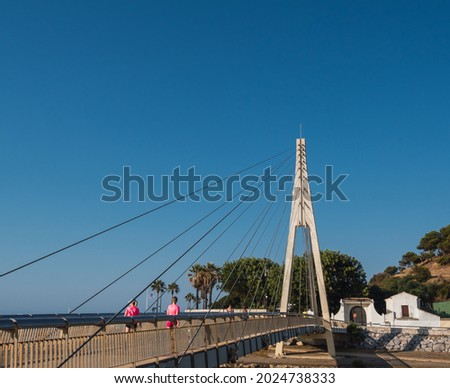 Bridge of the Spanish navy with people walking and blue sky in summer Foto stock ©