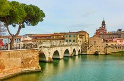 Bridge of Tiberius (Ponte di Tiberio) in Rimini, Emilia-Romagna, Italy