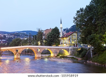 Bridge on Miljacka river in Sarajevo the capital city of Bosnia and Herzegovina, at dusk