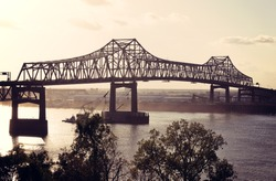 Bridge on Mississippi River in Baton Rouge, Louisiana.