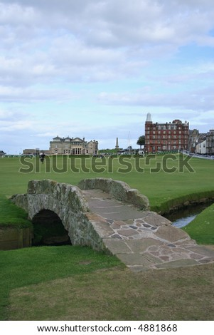 bridge on St Andrews golf course with Club House