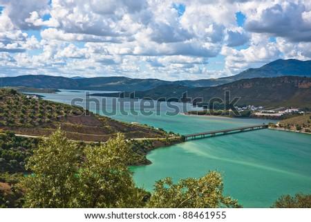 Bridge on the Iznajar Lake, Cordoba Province, Spain