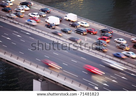 Bridge on third transport ring in Moscow, Russia, water of river