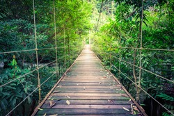 Bridge over a stream at Tao Thong Waterfall, Phang Nga, Thailand.