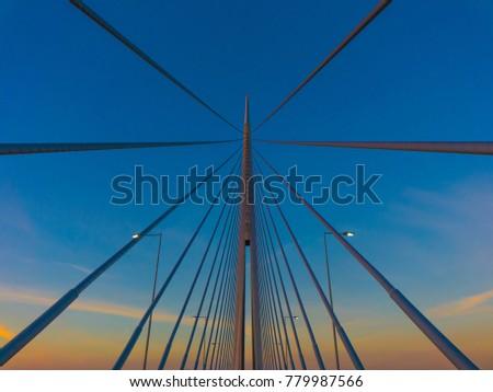 Bridge over Ada in Belgrade, Serbia #779987566