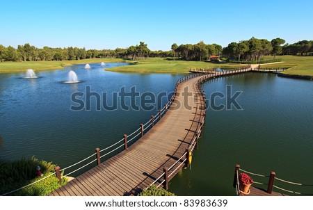 Bridge over an artificial pond.