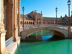 Bridge over canal in Plaza de Espana, Seville, Spain