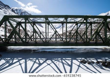 Stock Photo Bridge over frozen lake himalayas
