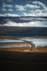 Bridge over Lagarfljot or Logurinn lake in East Iceland. Nature landscape