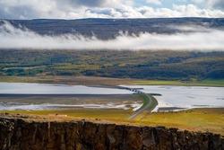 Bridge over Lagarfljot or Logurinn lake in East Iceland. Nature landscape