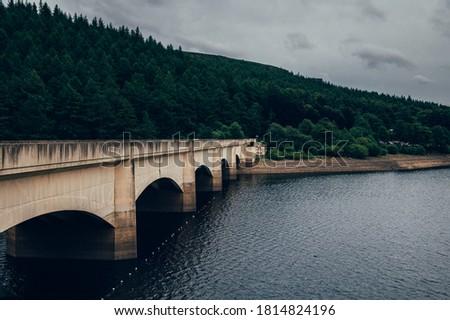 Photo of  Bridge over Lower Derwent Reservoir as it joins Ladybower Reservoir in Peak District National Park, Derbyshire, England, UK