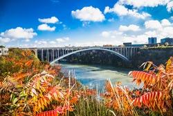 Bridge over  Niagara river. Niagara Falls is city on the western bank of the Niagara River, Ontario. Canada.