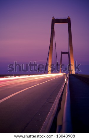 Bridge over Rhine River by Night