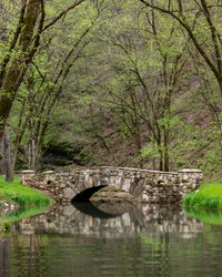 Bridge over river found in Dogwood Canyon Nature Park in Branson Missouri in the Ozarks