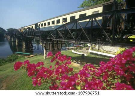 Bridge over River Kwai, Kanchanaburi, Erawan National Park, Thailand - stock photo