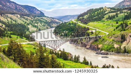 Bridge over the Fraser River at Williams Lake British Columbia Canada #1245930325