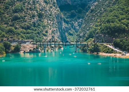 Bridge over the Lake of Sainte-Croix in south-eastern France. Provence-Alpes-Cote d'Azur. Verdon Gorge