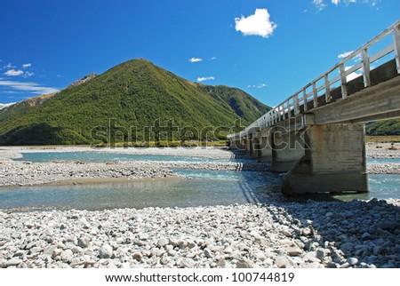 Bridge over the river Waimakariri, Arthurs Pass national park, New Zealand