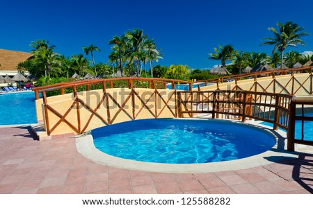Bridge Over The Swimming Pool At The Luxury Mexican Resort