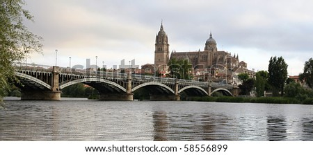 Bridge over the Tormes river in Salamanca with Cathedral in Background