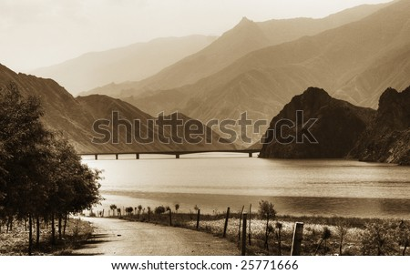 Bridge over the Yellow river by Huangnan Tibetan prefecture, Qinghai province, China