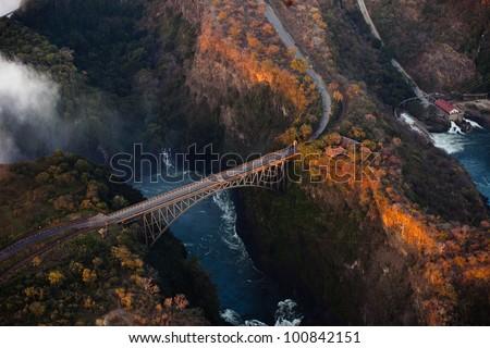 Bridge over the Zambezi River Gorge at Victoria Falls from the air