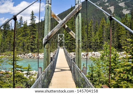 Bridge over Vermilion river at Kootenay National Park (Canada) - stock photo