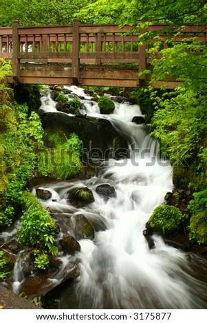 Bridge over Wahkeena Falls in Oregon on the Columbia River Gorge near Multnomah Falls