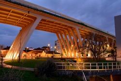 Bridge pillar structure made of cement at dusk