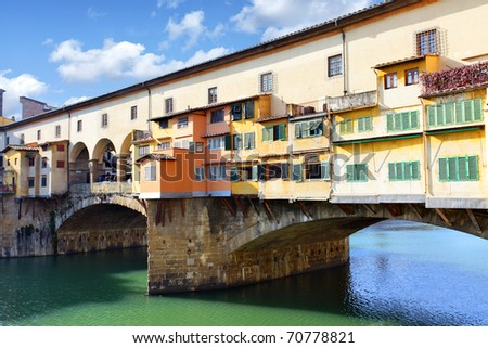 Bridge Ponte Vecchio over Arno river in Florence, Italy