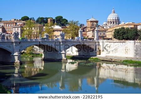Bridge Ponte Vittorio Emanuele II over Tiber, Rome