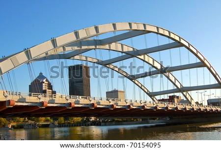 Bridge provides natural frame for the city landscape.